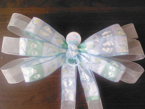 BABY SHOWER BLUE PEW GIFT BOW DECORATIONS REUSABLE HANDMADE