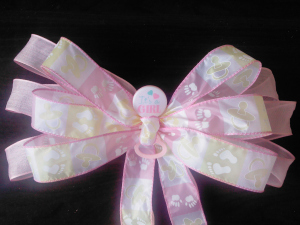BABY SHOWER PINK PEW GIFT BOW DECORATIONS REUSABLE HANDMADE!