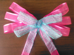 PINK/BLUE GIRL TEEN TWEEN GIFT BOW DECORATION REUSABLE HANDMADE!