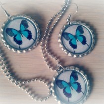 Butterfly Bottle Cap Jewelry Set