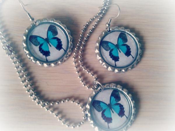 Butterfly Bottle Cap Jewelry Set