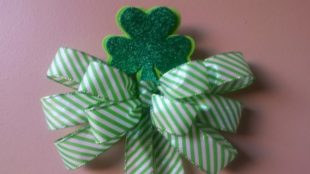 Striped bow with Shamrock